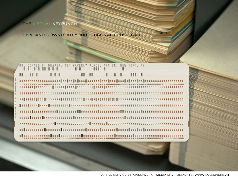 The Virtual Keypunch Make Your Personal Punch Card