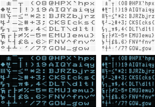 VT100 double width and single width glyphs