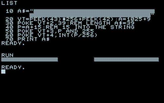 String exploit in Commodore BASIC