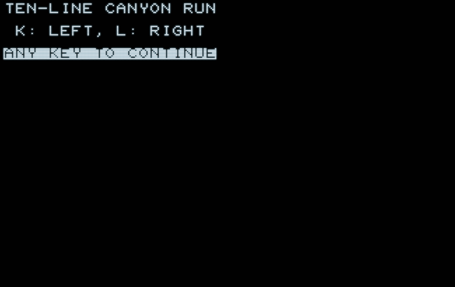 PET 2001 Ten-Line Cañon Run: title screen