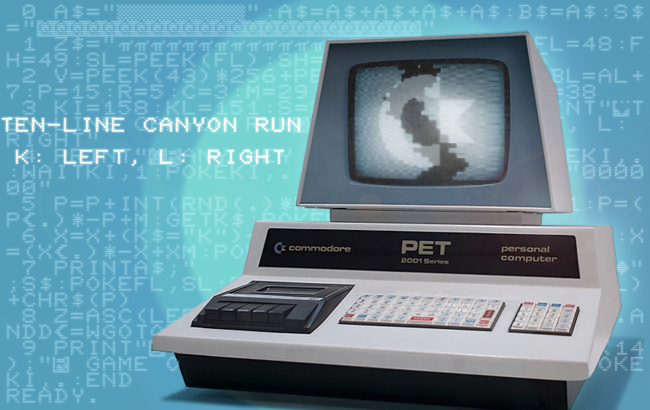Writing a 10-line canõn run game on the PET 2001